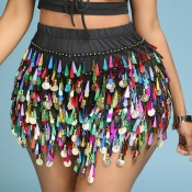 Lovely Sexy Tassel Design Multicolor Skirt