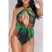 Lovely Print Black One-piece Swimsuit(With Cover-U