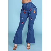 Lovely Trendy Butterfly Print Blue Jeans