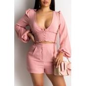 Lovely Stylish Deep V Neck Pink Two-piece Shorts S