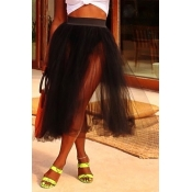 Lovely Bohemian Fold Design Black Skirt