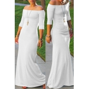 Lovely Bohemian Dew Shoulder White Maxi Dress