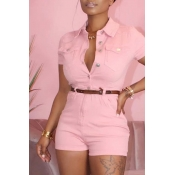 Lovely Stylish Buttons Design Pink One-piece Rompe