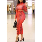 Lovely Stylish Print Red Two-piece Skirt Set