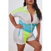 Lovely Leisure Patchwork Blue Plus Size Two-piece