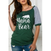 Lovely Casual O Neck Patchwork Green T-shirt