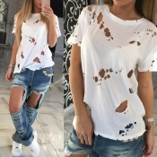 Lovely Leisure O Neck Hollow-out White T-shirt