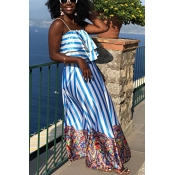 Lovely Bohemian Striped Blue Two-piece Skirt Set