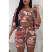 Lovely Leisure Camo Print Pink Two-piece Shorts Se