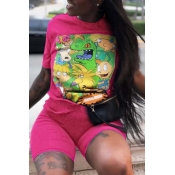 Lovely Leisure Cartoon Print Pink Two-piece Shorts