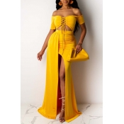 Lovely Sexy Bandage Design Yellow Two-piece Skirt