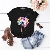 Lovely Casual O Neck Print Black T-shirt