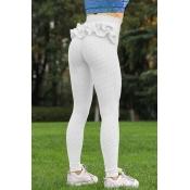 Lovely Sportswear Flounce Design White Pants