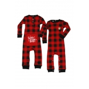 Lovely Family Plaid Printed Red And Black Boys One