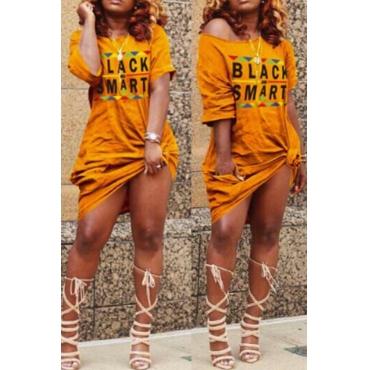 Lovely Casual Letter Print Croci Knee Length T-shirt Dress