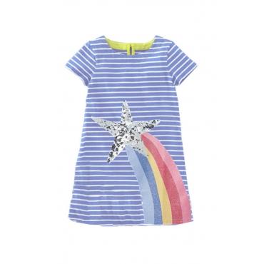 Lovely Chic Striped Blue Girl  Mini Dress