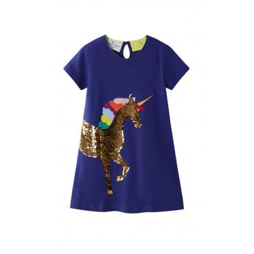 Lovely Chic Sequin Deep Blue Girl Knee Length Dress