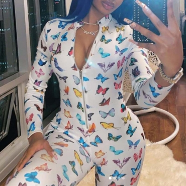 Lovely Stylish Print White One-piece Jumpsuit