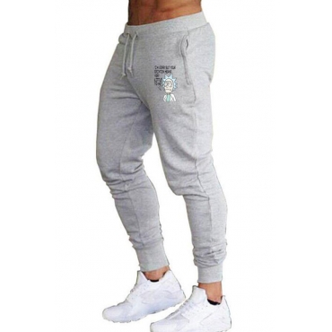 Lovely Casual Print Light Grey Pants Set