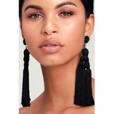 Lovely Trendy Tassel Design Black Earring