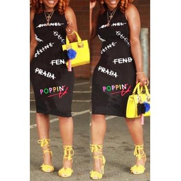 Lovely Casual Letter Print Black Knee Length Dress