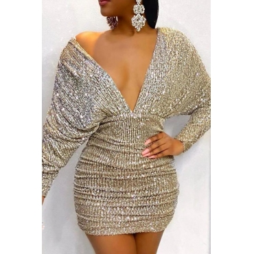 Lovely Party Deep V Neck Champagne Mini Prom Dress