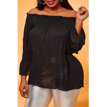 Lovely Casual Loose Black Plus Size Blouse