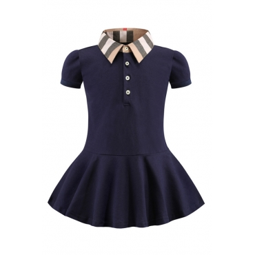 Lovely Sweet Buttons Design Dark Blue Girl Mini Dress