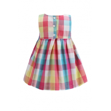 Lovely Sweet Grid Print Multicolor Girl Knee Length Dress