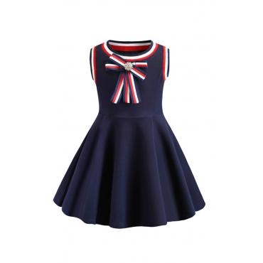 Lovely Sweet Bow-Tie Dark Blue Girl Knee Length Dress