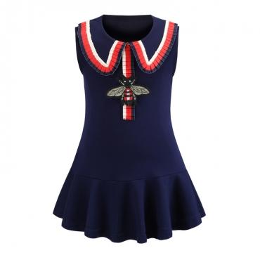 Lovely Chic Patchwork Dark Blue Girl Knee Length Dress