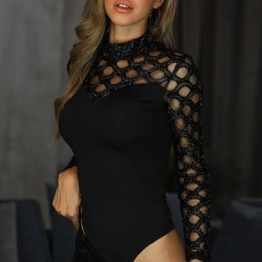 Lovely Chic Hollow-out Black Bodysuit