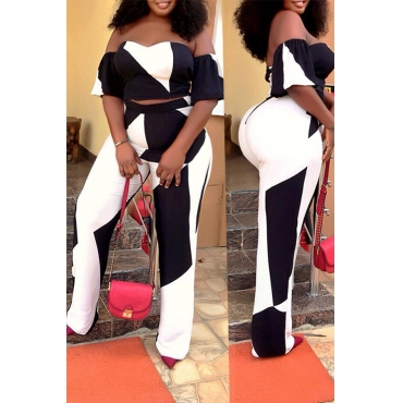 Lovely Trendy Patchwork White Two-piece Pants Set