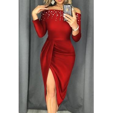 Lovely Trendy Side Slit Red Knee Length Dress