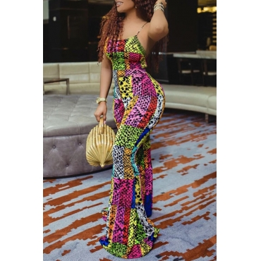 Lovely Trendy Hollow-out Print One-piece Jumpsuit