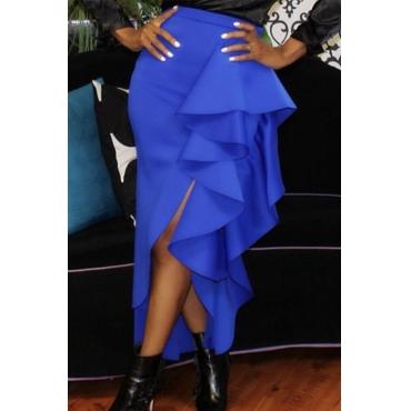 Lovely Sweet Flounce Design Blue Skirt