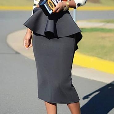 Lovely Stylish Flounce Design Black Skirt
