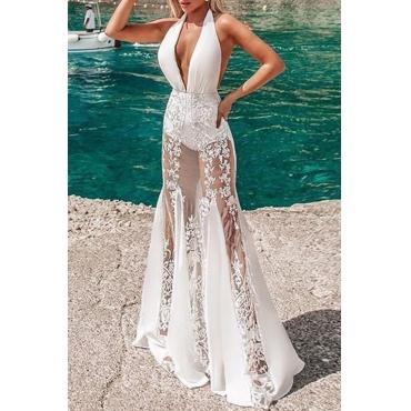 Lovely Sweet Deep V Neck White Maxi Dress