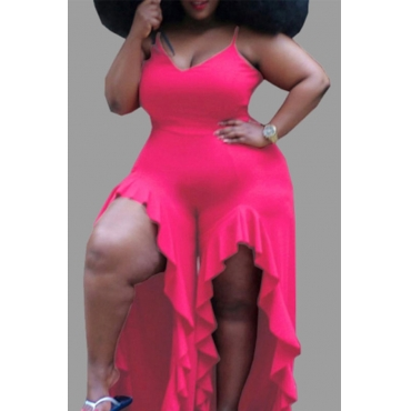 Lovely Trendy Flounce Design Rose Red Plus Size One-piece Jumpsuit