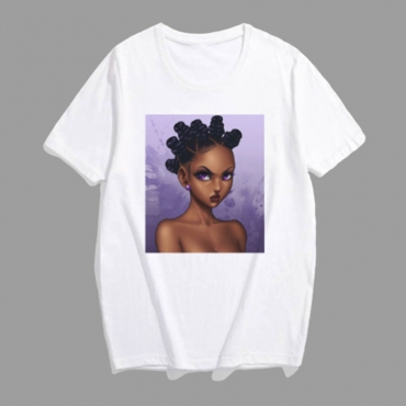Lovely Leisure Print Purple Plus Size T-shirt