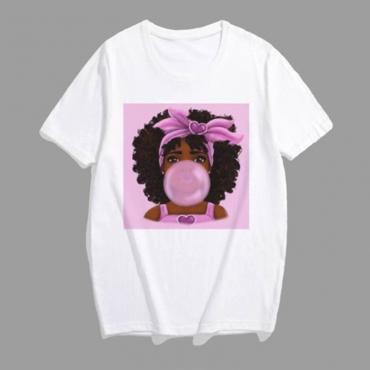 Lovely Leisure Print Multicolor Plus Size T-shirt