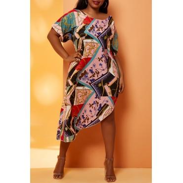 Lovely Chic Print Multicolor Plus Size Beach Blouse