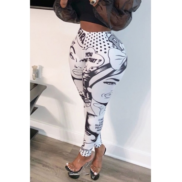 Lovely Casual Cartoon Print White Pants