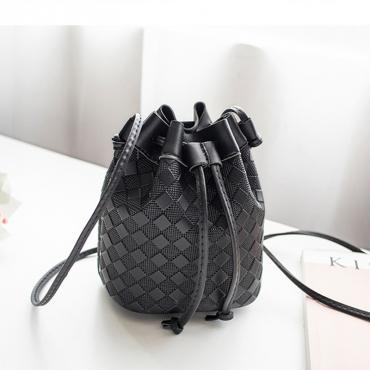 Lovely Trendy Lace-up Black Crossbody Bag