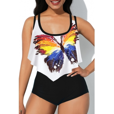 Lovely Butterfly Print White Bathing Suit Two-piece Swimsuit