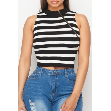 Lovely Trendy Striped Black and White Camisole