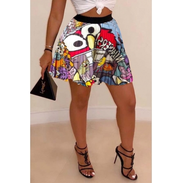 Lovely Stylish Print Multicolor Skirt
