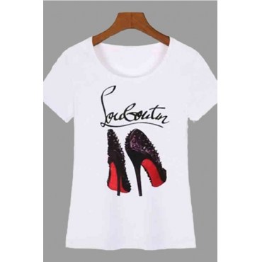 Lovely Casual Print White T-shirt