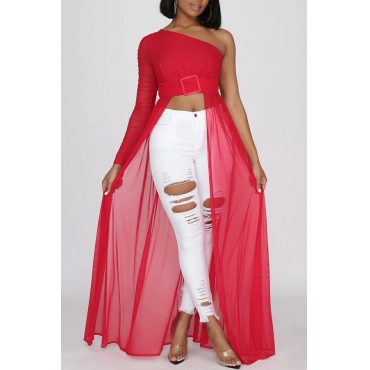 Lovely Stylish One Shoulder Red Blouse
