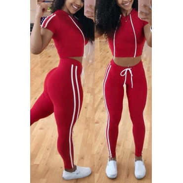 Lovely Casual Lace-up Red Two-piece Pants Set